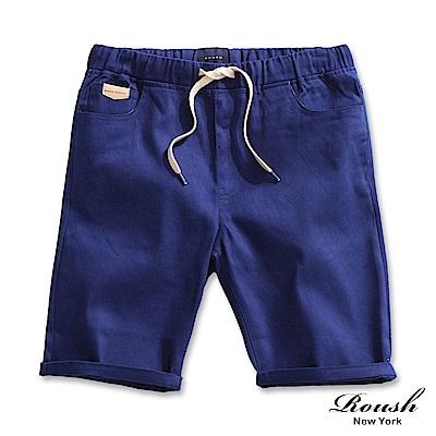 ROUSH 口袋皮標設計抽繩斜紋短褲