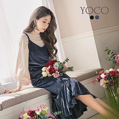 東京著衣-yoco 韓妞最愛絨布魚尾吊帶洋裝-S.M.L(共二色)