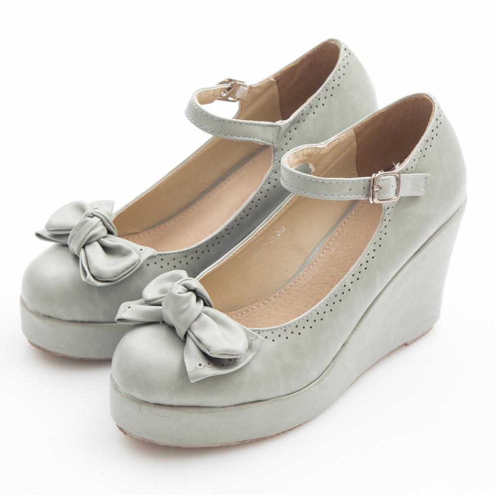JMS-俏皮雙層蝴蝶結楔型娃娃鞋-灰色