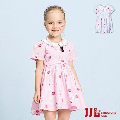 JJLKIDS 復古風翻領棉質短袖洋裝(2色)
