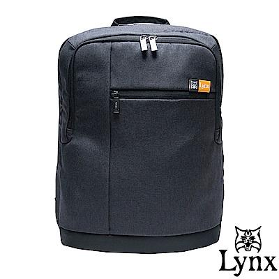 Lynx - 山貓質男防撥水休閒筆電後背包-黑
