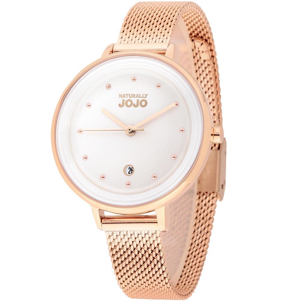 NATURALLY JOJO 經典不鏽鋼米蘭腕錶-白x玫瑰金/34mm