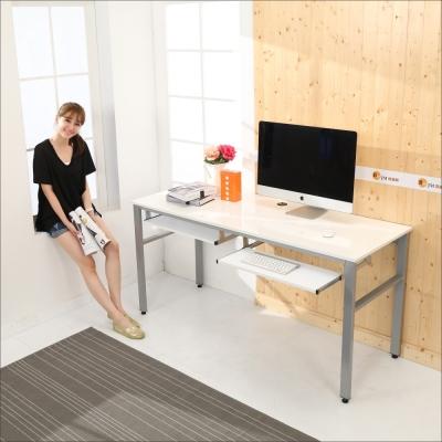 BuyJM 鏡面環保低甲醛穩重型雙鍵盤工作桌-寬160公分-DIY