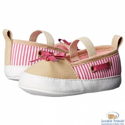 Luvable Friends 卡其桃紅止滑嬰兒帆船學步鞋