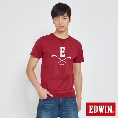 EDWIN 曲棍球大學領T恤-男-紅色