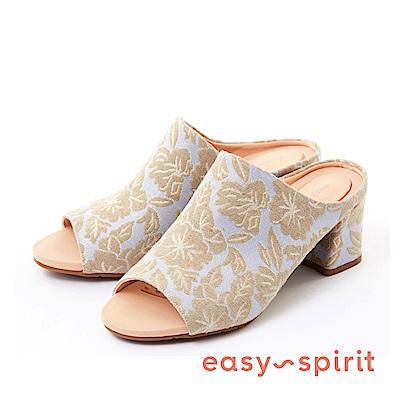 Easy Spirit--魚口粗高跟涼拖鞋-迷人花布