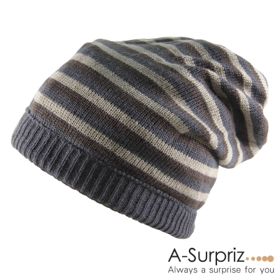 A-Surpriz 都會潮流兩用雙面條紋毛線帽(知性咖)