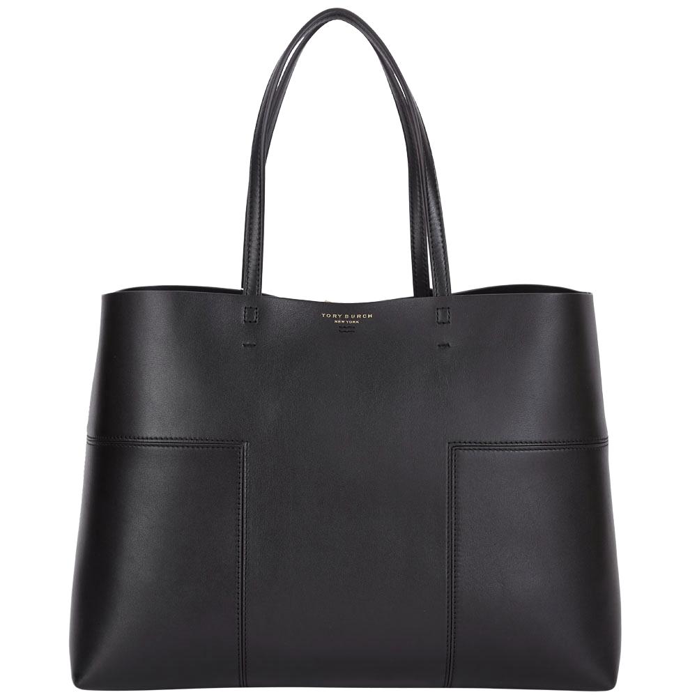 TORY BURCH BLOCK-T 對稱車縫設計托特包(黑色)