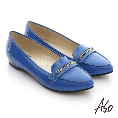 A.S.O 減壓美型 全真皮鏡面窩心尖頭平底鞋 藍