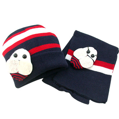 【iSFun】可愛蜜蜂兒童圍巾+帽組(深藍)