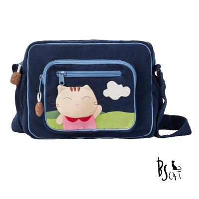 ABS貝斯貓 可愛貓咪拼布 肩背包 斜揹包 (藍) 88-203