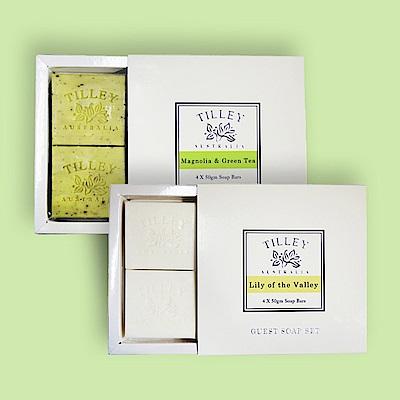 Tilley百年特莉 香氛植物皂4入禮盒x2款香味 (幸福百合+木蘭花&綠茶)