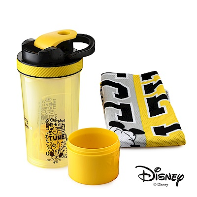 迪士尼Disney 繽紛塗鴉運動儲物PP杯850ml+運動冷感吸汗毛巾