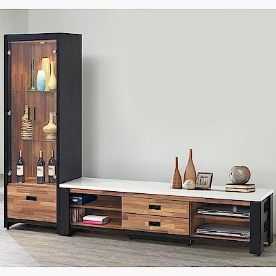 H&D 雙色積層木8尺L型櫃 (寬240X深40.5X高182.5cm)