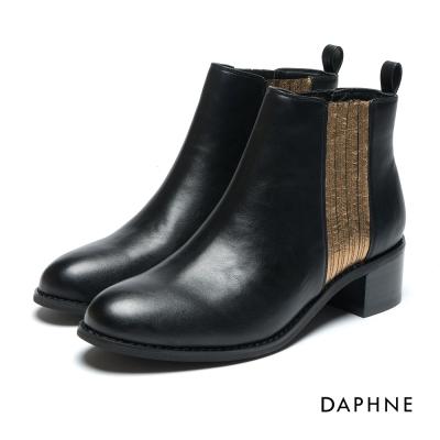 達芙妮DAPHNE 短靴-異材質撞色套腳馬丁短靴-牛紋黑