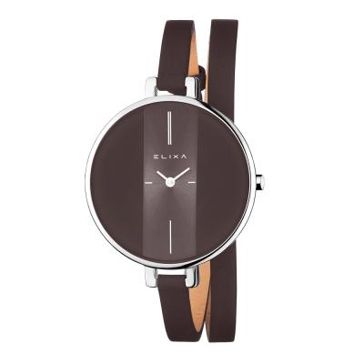 ELIXA Finesse系列銀框 摩卡x黑錶盤/摩卡色皮革纏繞式錶帶38mm