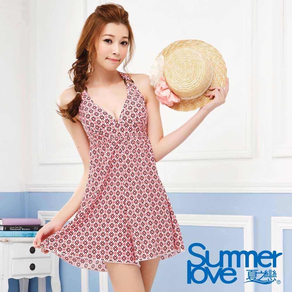 夏之戀SUMMER LOVE  復古時尚身褲裙兩件式泳衣 (M~2L)