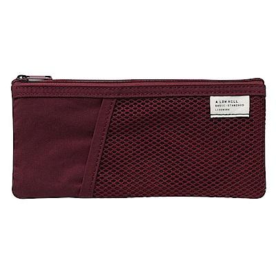 Livework 休閒風雙層對摺收納筆袋-覆盆莓紅