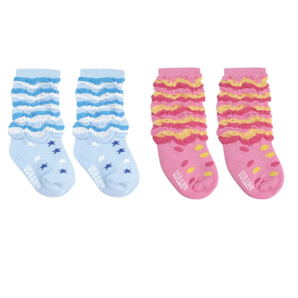 優生喜羊羊條紋泡泡初生/止滑襪11-13公分(藍/粉)