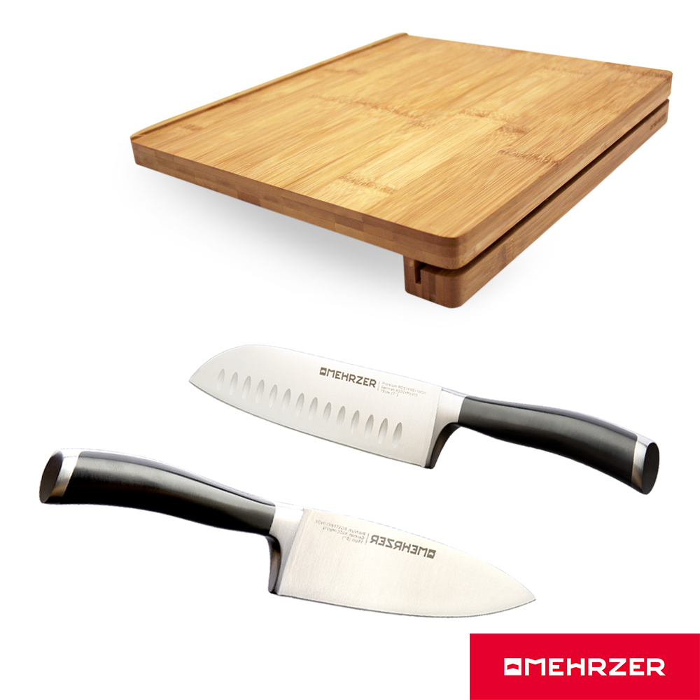 Omehrzer歐梅樂可站立竹砧板+8吋廚刀+7吋日式廚刀