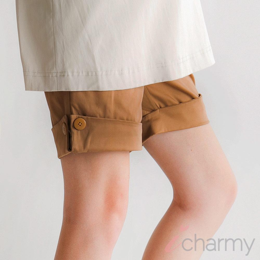 愛俏咪I charmy腹圍可調節鬆緊帶反摺短褲-卡其(SS4008)