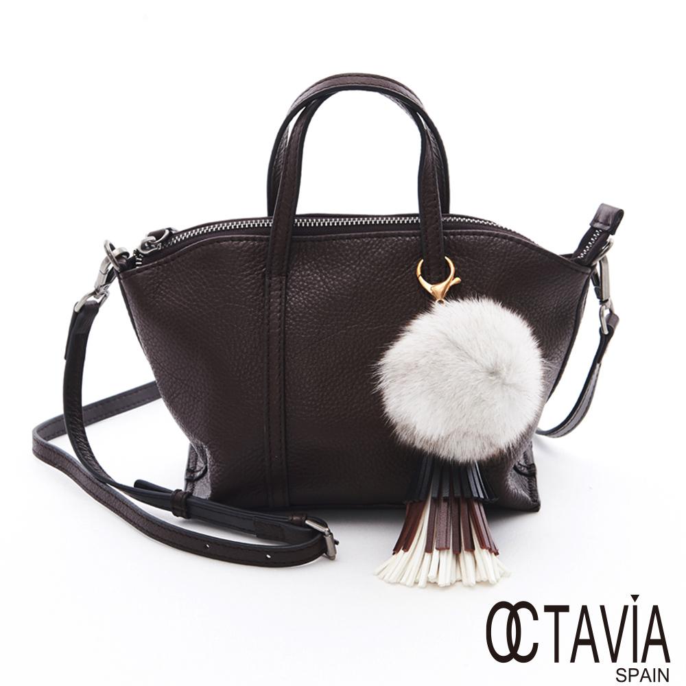 OCTAVIA 8真皮 - 小毛球 牛皮手拿肩背二用貝殼包 - 球球咖