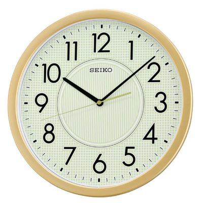 SEIKO 精工 螢光滑動式秒針靜音掛鐘(QXA629G)-金-淡綠/36cm