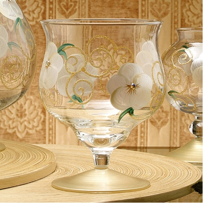 Madiggan玫瑰系列手工彩繪寬口短腳燭杯-小(粉紅.紫色.金黃三色任選)