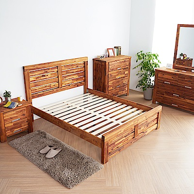 H&D 奧瑞鄉村系列實木雙人房間4件組 (寬158X深200X高110cm)