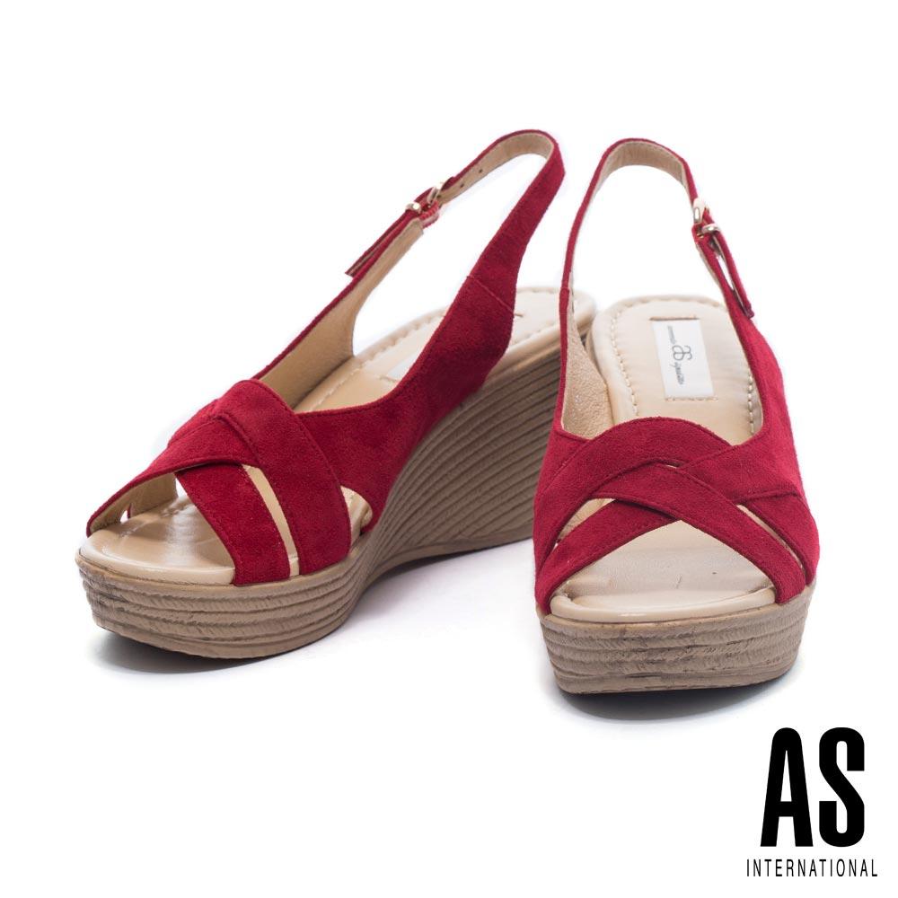 涼鞋AS編織風情羊麂繫帶草編楔型高跟涼鞋-紅