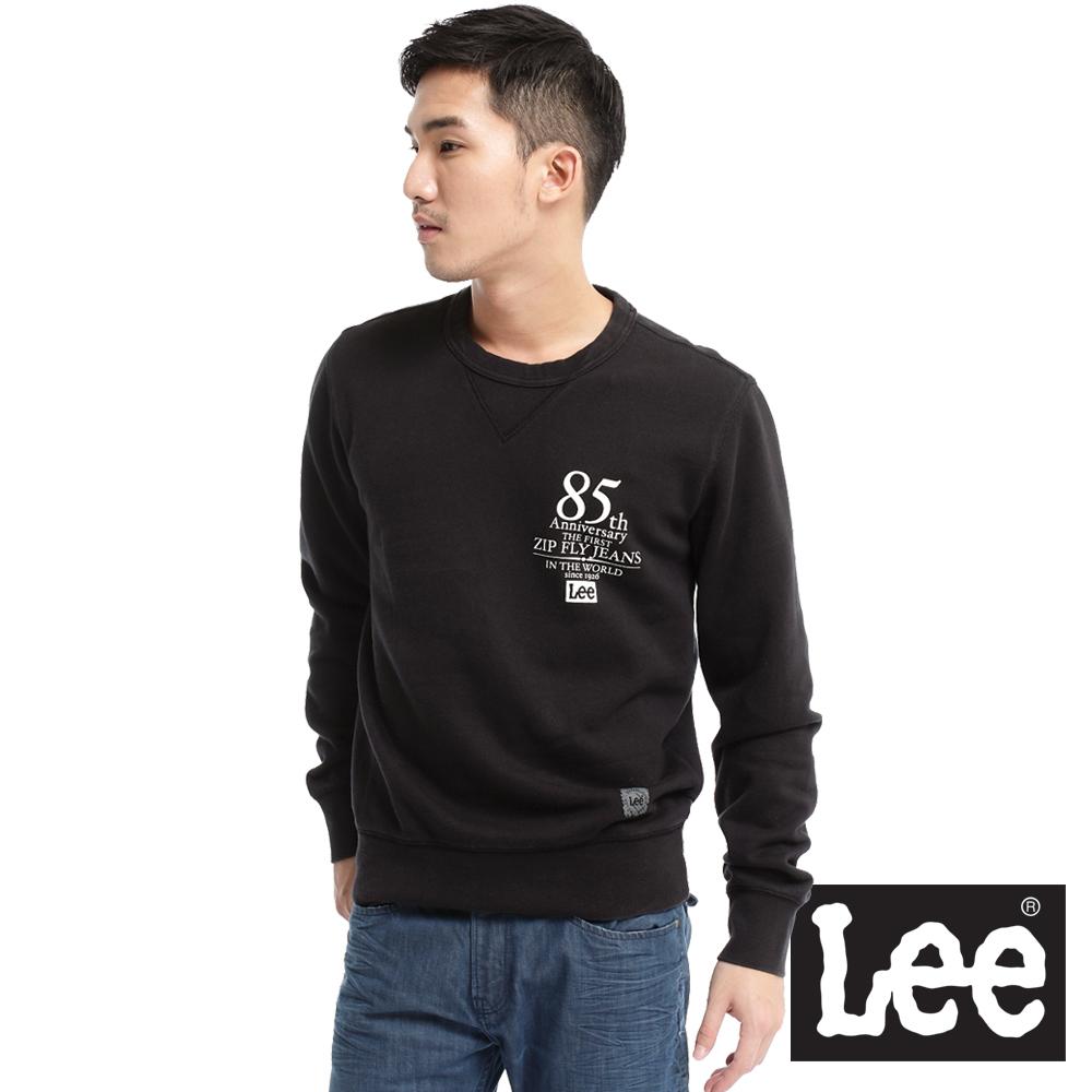 【Lee】藝術融匯 文字印花內刷毛圓領長袖厚T恤-男款(黑)