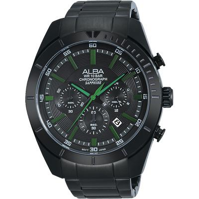ALBA 魅力時尚三眼計時腕錶(AT3603X1)-IP黑x綠時標/45mm