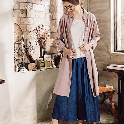 CACO-輕鬆寬口單寧裙褲(兩色)-女【PSH109】