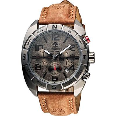Timberland Oakwell 探險王計時腕錶-鐵灰x咖啡/44mm