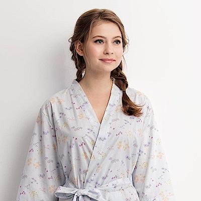 羅絲美睡衣 - 繽紛花季舒活七分袖浴衣(藍空色)