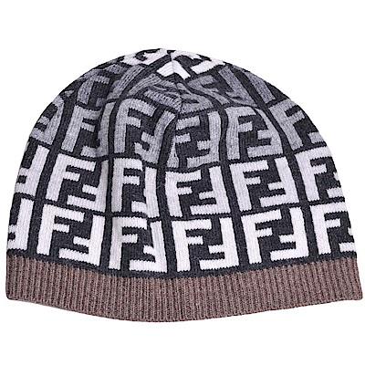 FENDI 經典FF LOGO圖騰義大利製混喀什米爾羊毛造型毛帽(黑底/咖啡邊)