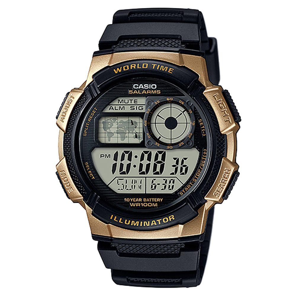 CASIO 世界之城電子數位膠帶錶(AE-1000W-1A3)-金框X黑面/43.7mm