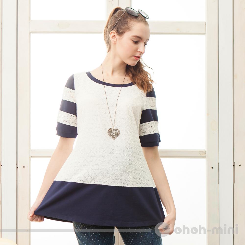 【ohoh-mini 孕婦裝】浪漫蕾絲拼接針織圓領五分袖上衣