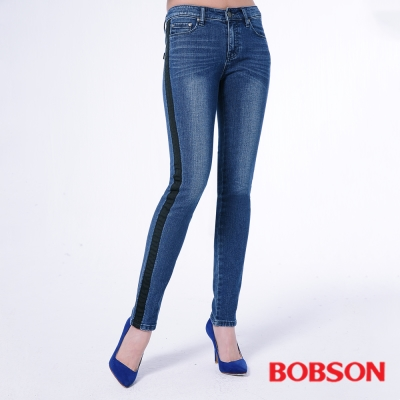BOBSON 女款低腰配織條小直筒褲