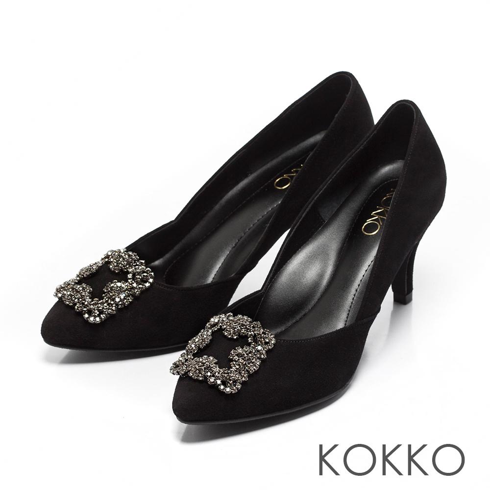KOKKO -晶燦花嫁鑽扣尖頭高跟鞋-華貴黑