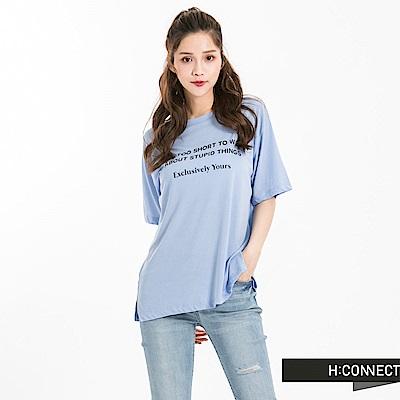 H:CONNECT 韓國品牌 女裝 -個性標語柔軟T-Shirt-藍