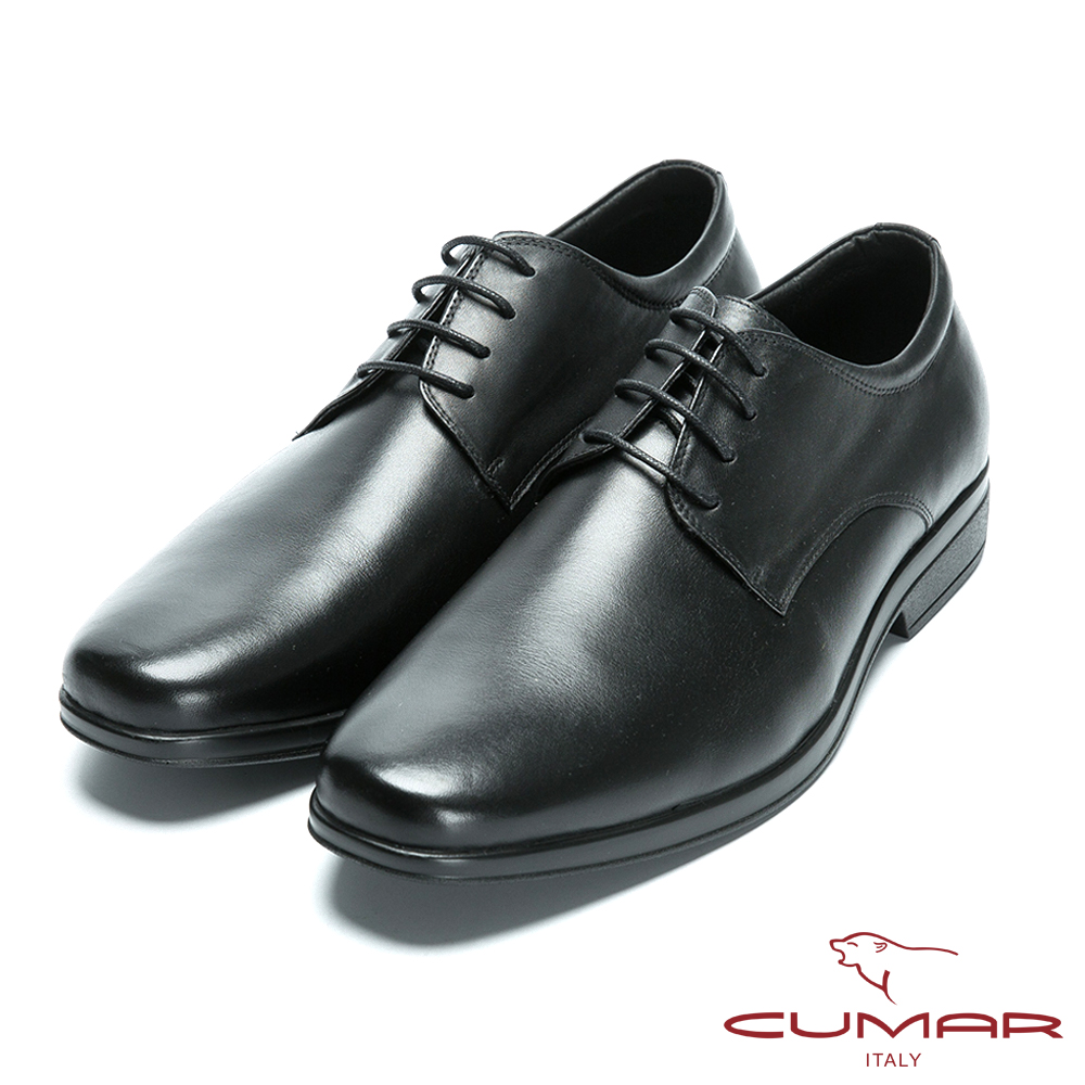 CUMAR 超輕柔韌大底 舒適真皮綁帶皮鞋-黑色