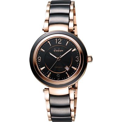 Diadem 黛亞登 都會女伶陶瓷腕錶-黑x玫塊金/35mm