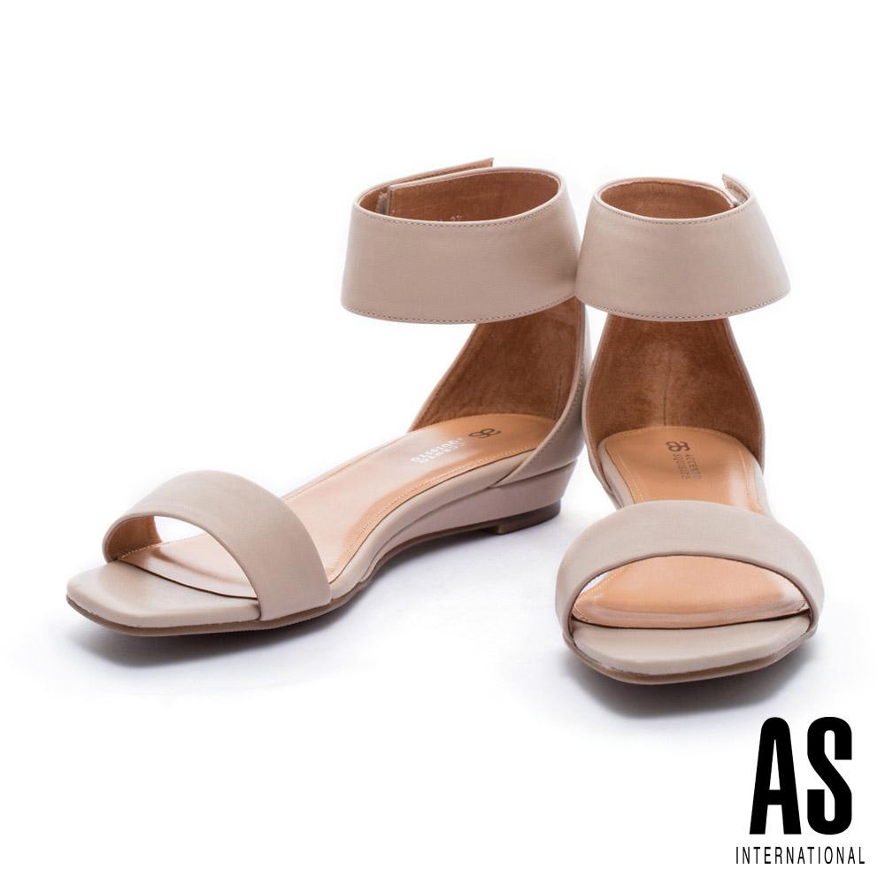 涼鞋 AS 簡約素雅純色一字牛皮粗跟涼鞋-杏