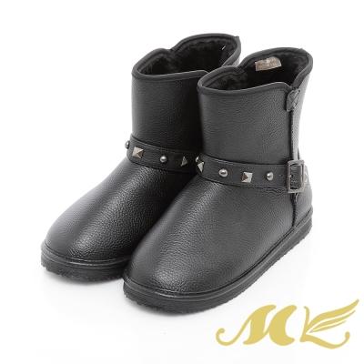 MK-台灣製-秋冬抗濕冷晴雨兩用時尚雪靴-黑色