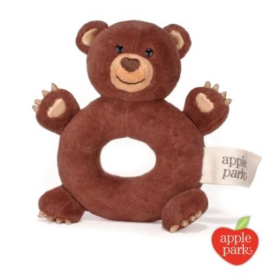 【美國 Apple Park】有機棉手搖鈴啃咬玩具 - 小熊
