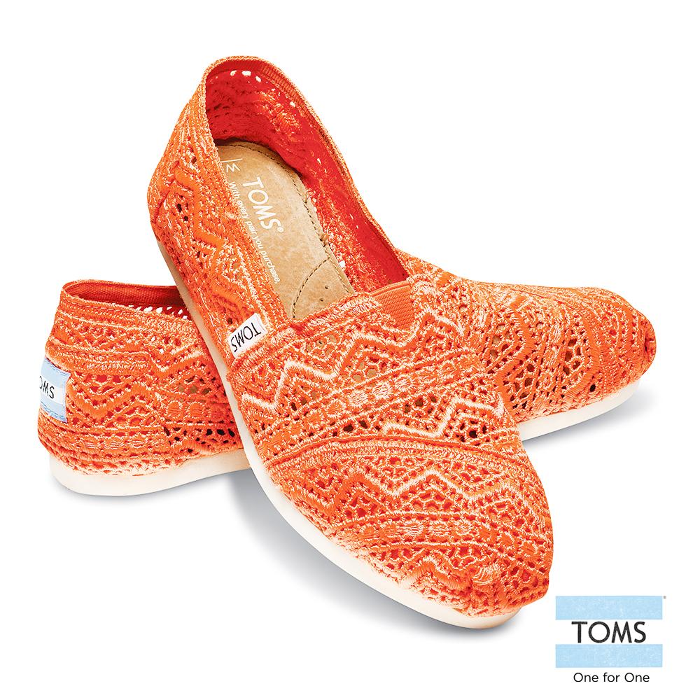 TOMS 經典蕾絲懶人鞋-女款(亮橘)