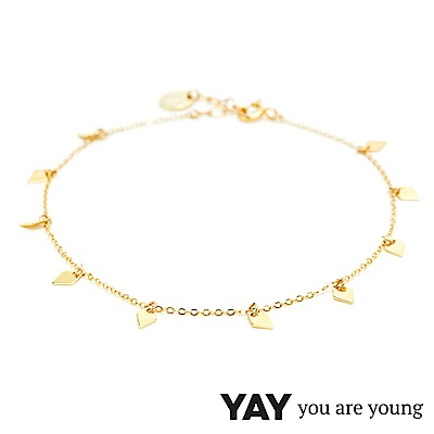 YAY You Are Young 法國品牌 Jimie 鑽石菱形簡約腳鍊 金色