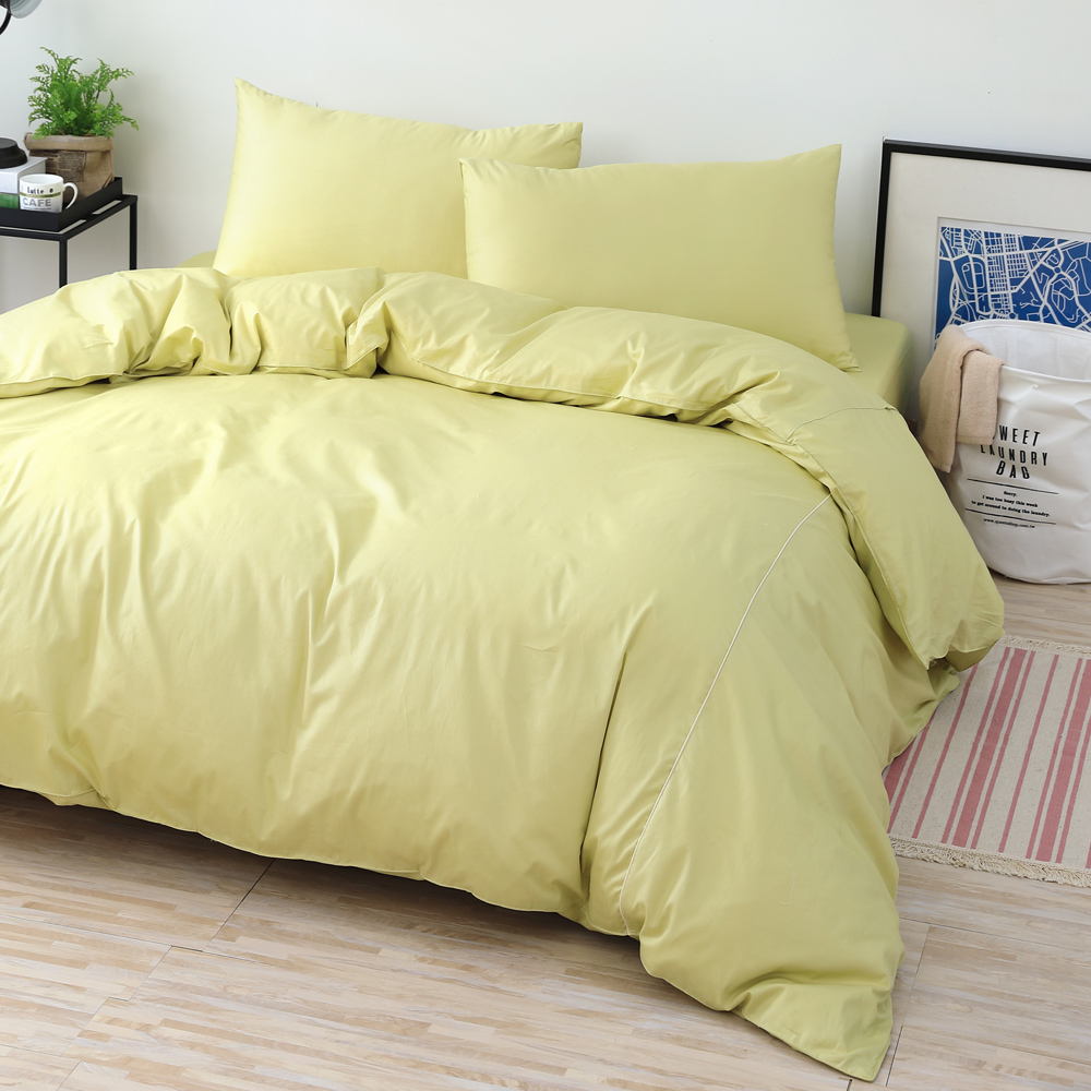 GOLDEN-TIME-純色主義-200織紗精梳棉-薄被套床包組(草綠-加大)
