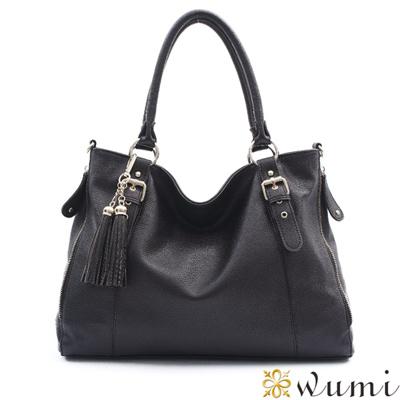 WuMi-無米-喬絲拼接美型流蘇包-經典黑